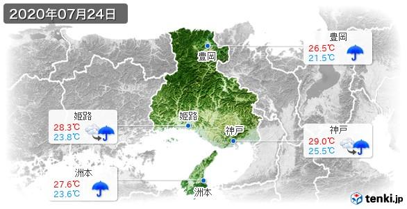 兵庫県(2020年07月24日の天気