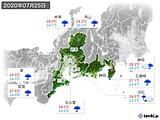 2020年07月25日の東海地方の実況天気