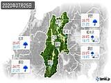 2020年07月25日の長野県の実況天気