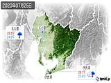 2020年07月25日の愛知県の実況天気