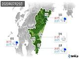 2020年07月25日の宮崎県の実況天気