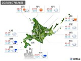 2020年07月26日の北海道地方の実況天気