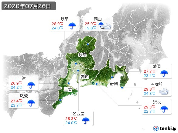 東海地方(2020年07月26日の天気