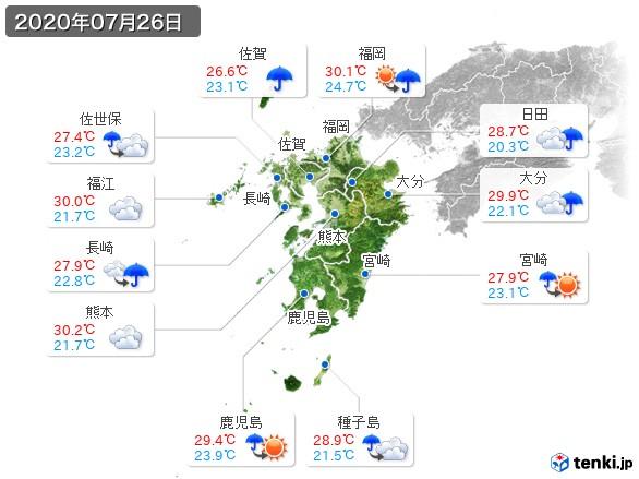 九州地方(2020年07月26日の天気