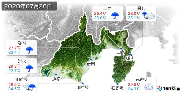 静岡県(2020年07月26日の天気