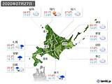 2020年07月27日の北海道地方の実況天気