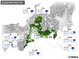 2020年07月27日の東海地方の実況天気