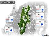 2020年07月27日の長野県の実況天気