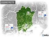 2020年07月27日の岡山県の実況天気