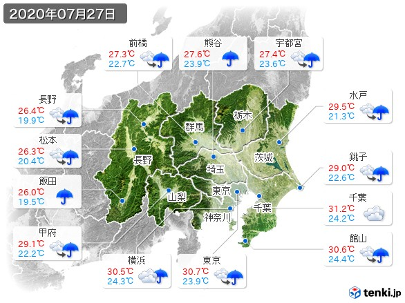 関東・甲信地方(2020年07月27日の天気