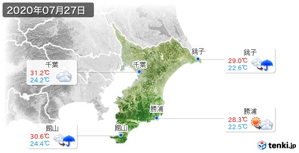 千葉県(2020年07月27日の天気