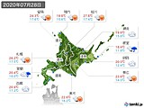 2020年07月28日の北海道地方の実況天気