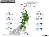 2020年07月28日の東北地方の実況天気