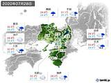 2020年07月28日の近畿地方の実況天気