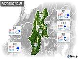 2020年07月28日の長野県の実況天気