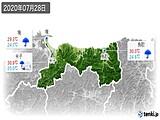 2020年07月28日の鳥取県の実況天気