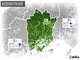 2020年07月28日の岡山県の実況天気