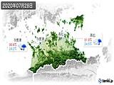 2020年07月28日の香川県の実況天気