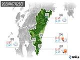 2020年07月28日の宮崎県の実況天気