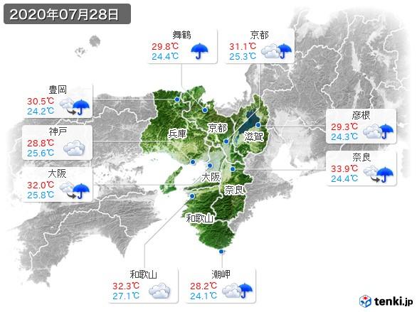 近畿地方(2020年07月28日の天気