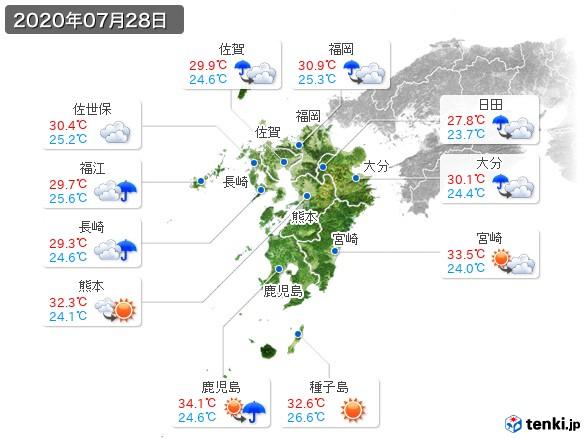 九州地方(2020年07月28日の天気