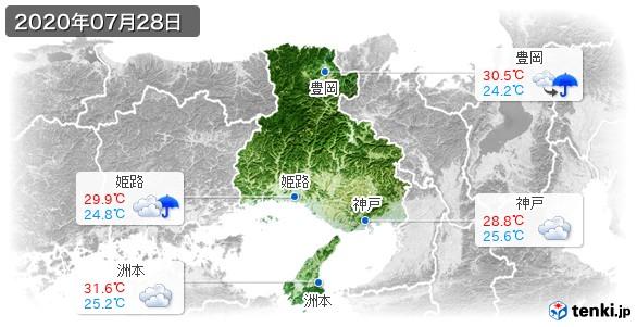 兵庫県(2020年07月28日の天気