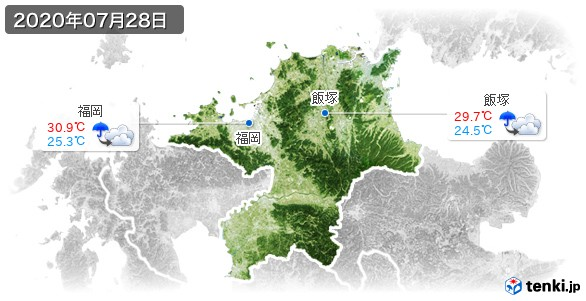 福岡県(2020年07月28日の天気
