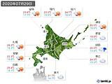 2020年07月29日の北海道地方の実況天気