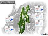 2020年07月29日の長野県の実況天気