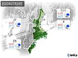2020年07月29日の三重県の実況天気