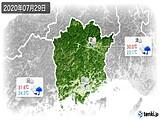 2020年07月29日の岡山県の実況天気