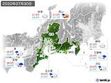2020年07月30日の東海地方の実況天気