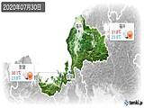 2020年07月30日の福井県の実況天気