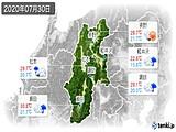 2020年07月30日の長野県の実況天気