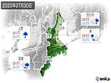 2020年07月30日の三重県の実況天気