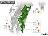 2020年07月30日の宮崎県の実況天気