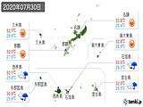 2020年07月30日の沖縄県の実況天気