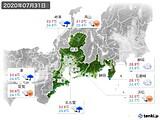 2020年07月31日の東海地方の実況天気