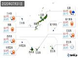 2020年07月31日の沖縄県の実況天気