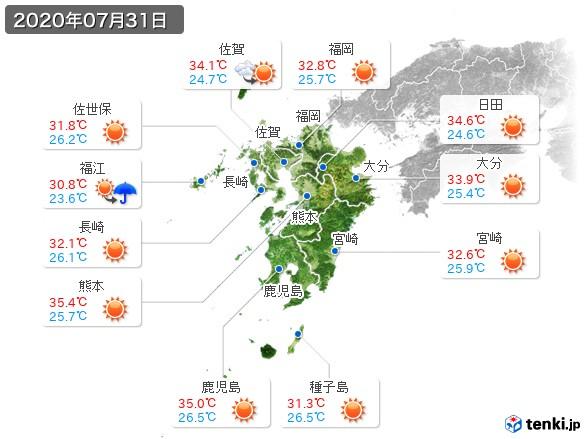 九州地方(2020年07月31日の天気