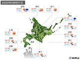 2020年08月01日の北海道地方の実況天気