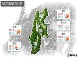 2020年08月01日の長野県の実況天気