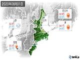 2020年08月01日の三重県の実況天気
