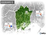 2020年08月01日の岡山県の実況天気