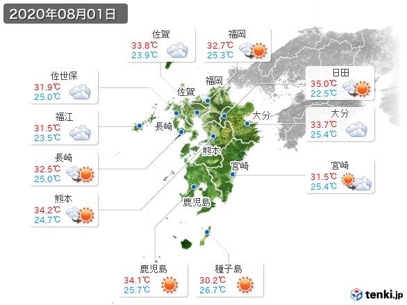 九州地方(2020年08月01日の天気