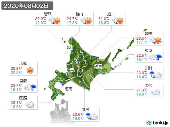 北海道地方(2020年08月02日の天気