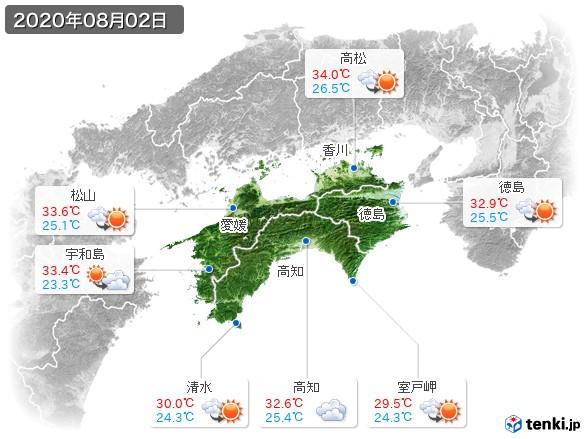 四国地方(2020年08月02日の天気