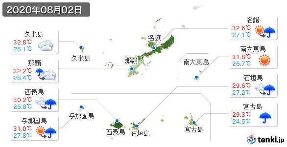 沖縄県(2020年08月02日の天気