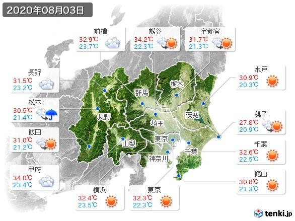 関東・甲信地方(2020年08月03日の天気