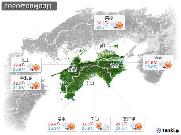 四国地方(2020年08月03日の天気